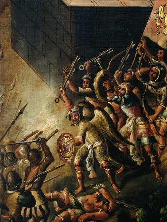Screen with Scenes of the Spanish Conquest: Battle Among Aztec and Spanish Soldiers, Detail