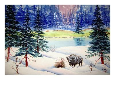 Bison in Wintery Snow Scene
