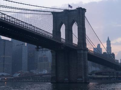Sunset Behind the Brooklyn Bridge and Manhattan on a Humid Summer Evening
