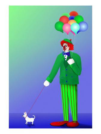 Clown Holding Balloons and Dog on Leash