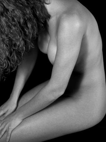 Female Nude Sitting with Face Covered by Long Hair