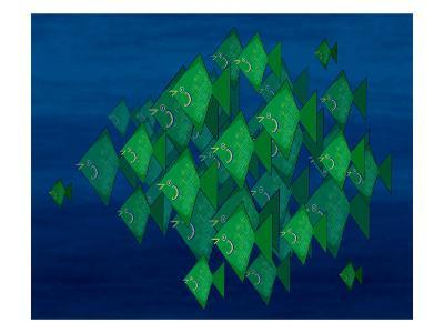 School of Green Triangle Fish on Blue Underwater Background