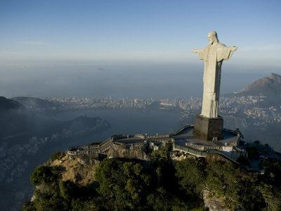 Christ the Redeemer Statue Above Botafogo Beach and Bay