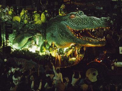 Crowds Surround an Alligator Float in the Mardi Gras Parade