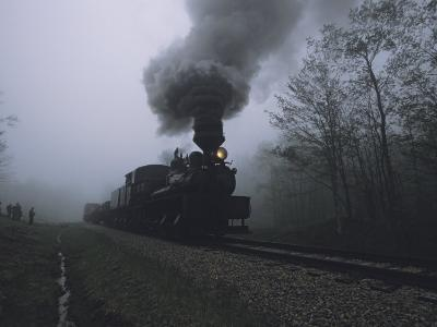 People Wait to Board the Cass Scenic Railroad on a Foggy Morning