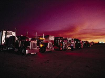 Vivid Sunset over Trucks Parked in a Truck Stop Near Sayre, Oklahoma