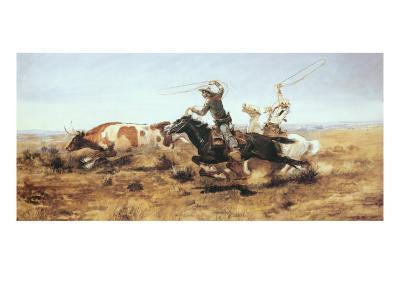 O.H. Cowboys Roping a Steer