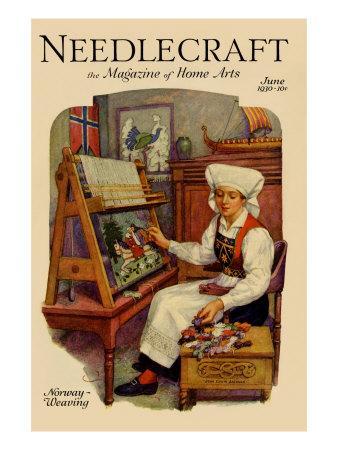 Norwegian Girl Weaving a Tapestry