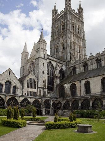 Tower and Cloisters of Gloucester Cathedral, Gloucester, Gloucestershire, England, United Kingdom,