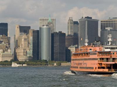 Famous Orange Staten Island Ferry Approaches Lower Manhattan, New York
