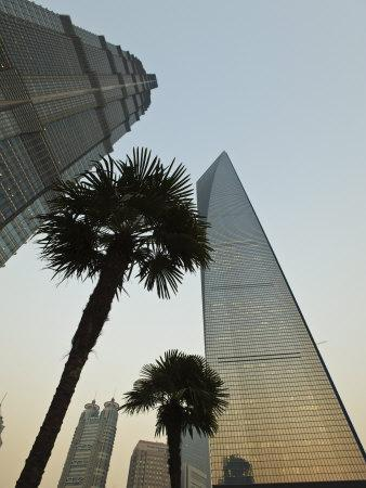 Jin Mao Tower on the Left, and the Shanghai World Financial Center on the Right, Shanghai, China