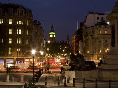 Big Ben and Whitehall from Trafalgar Square, London, England, United Kingdom, Europe