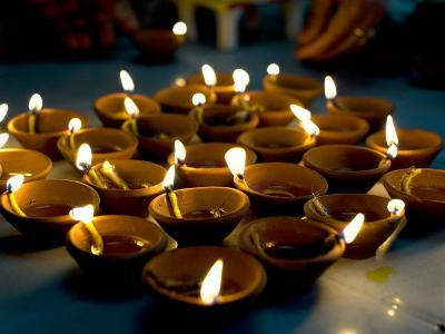 Deepak Lights (Oil and Cotton Wick Candles) Lit to Celebrate the Diwali Festival, India