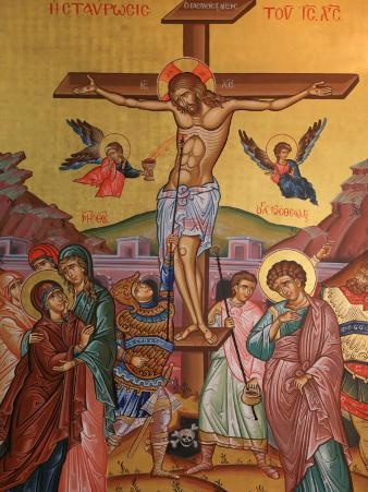 Greek Orthodox Icon Depicting Jesus' Crucifixion, Thessalonica, Macedonia, Greece, Europe