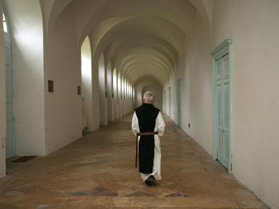 Monk at Citeaux Abbey, St. Nicolas Les Citeaux, Cote D'Or, Burgundy, France, Europe