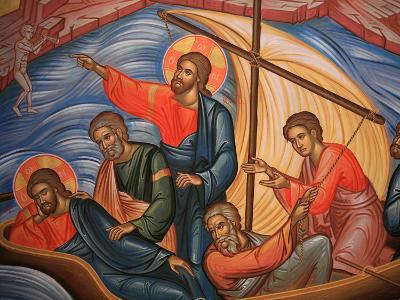 Greek Orthodox Icon Depicting Jesus and His Apostles on Lake Tiberias, Macedonia, Greece