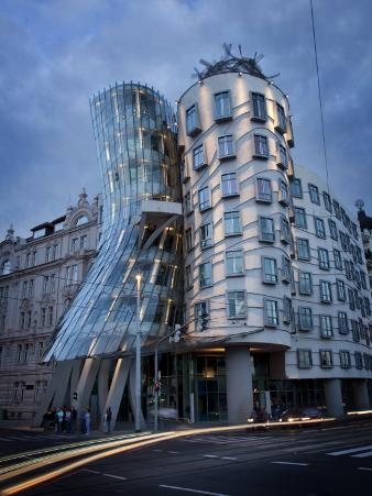 Dancing House (Fred and Ginger Building), by Frank Gehry, at Dusk, Prague, Czech Republic