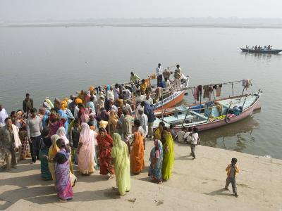 Boat on the River Ganges While a Cremation Takes Place, Varanasi, Uttar Pradesh State, India