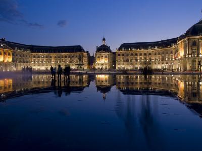 Place De La Bourse at Night, Bordeaux, Aquitaine, France, Europe