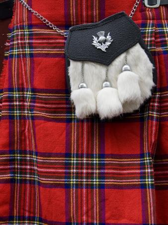 Scottish Kilt and Purse on Display for Sale, Edinburgh, Scotland, United Kingdom, Europe
