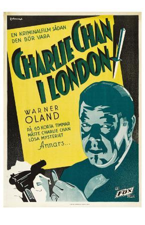 Charlie Chan in London, Swedish Movie Poster, 1934
