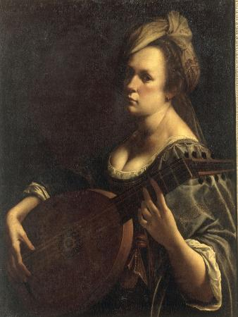 A Portrait of a Woman playing the Lute, possibly a Self-Portrait of the Artist, c.1615