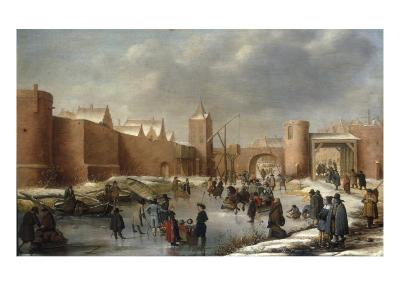 Skaters, Kolf Players, Elegant Ladies and Gentlemen on a Frozen Moat outside City Walls of Kampen