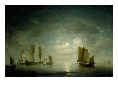 An English Frigate and Coastal Craft Becalmed by Moonlight