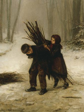 Children Gathering Wood in a Snowy Forest, 1883
