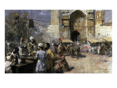 Market Scene by a Mosque