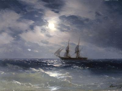 Sailing ship in the moonlight on a calm sea, 1874