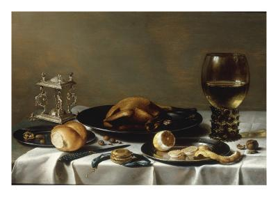 A Banketje Still Life with a Roemer, a Mounted Salt-Cellar, Pewter Plates with a Roast Chicken?