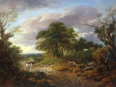 A Wooded Landscape with Peasants in a Country Waggon