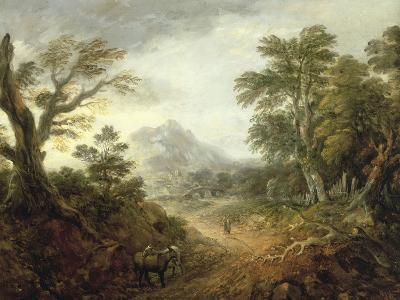 Wooded Landscape with Figures, Bridge, Donkeys, Distant Buildings and Mountain