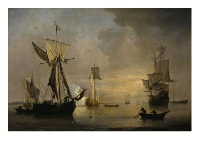 An English Galliot at Anchor with Fishermen laying a Net, 1691