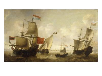A Dutch Merchantman with a Wijdschip and other Shipping off Amsterdam
