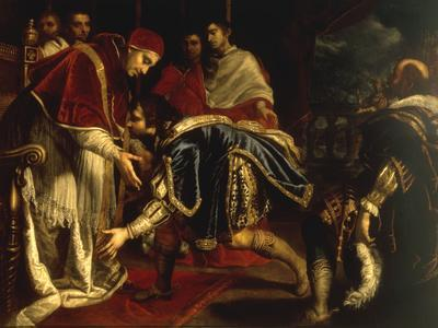 Meeting of Pope Leo X & King Francis I of France in Palazzo Pubblico at Bologna, 11 December 1515