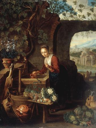 A Young Woman Drawing Water from a Well