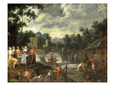 The Grounds of a Villa with Figures Feasting, Gardeners and Elegant Figures Boating Beyond