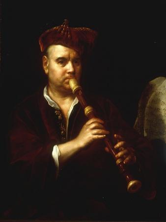 Portrait of a Man Playing a Recorder