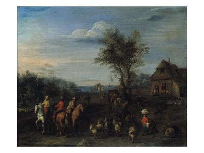 A Village Scene with Travellers on Horseback and a Herdsman with his Flock