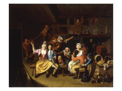 Interior Tavern Scene with Figures Carousing, 1696