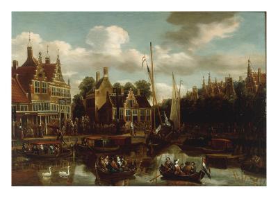A Canal Scene in a Dutch Town
