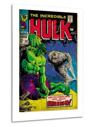 Marvel Comics Retro: The Incredible Hulk Comic Book Cover No.104, with the Rhino (aged)