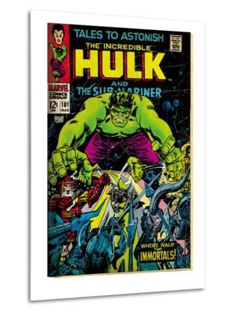 Marvel Comics Retro: The Incredible Hulk Comic Book Cover No.101, with the Sub-Mariner (aged)