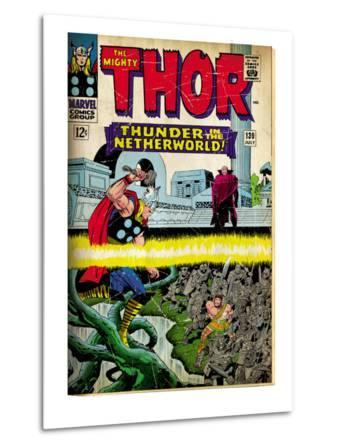 Marvel Comics Retro: The Mighty Thor Comic Book Cover No.130, Thunder in the Netherworld (aged)