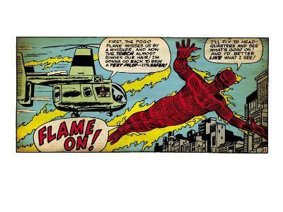 Marvel Comics Retro: Fantastic Four Comic Panel, Human Torch (aged)