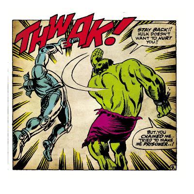 Marvel Comics Retro: The Incredible Hulk Comic Panel, Fighting, Thwak! (aged)
