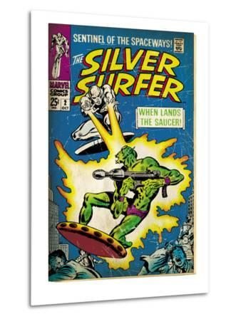 Marvel Comics Retro: Silver Surfer Comic Book Cover No.2, Fighting, When Lands the Saucer! (aged)