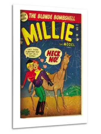 Marvel Comics Retro: Millie the Model Comic Book Cover No.34, Getting on a Horse (aged)